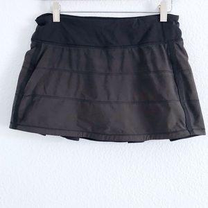 Lululemon   black and olive green pleaded skirt